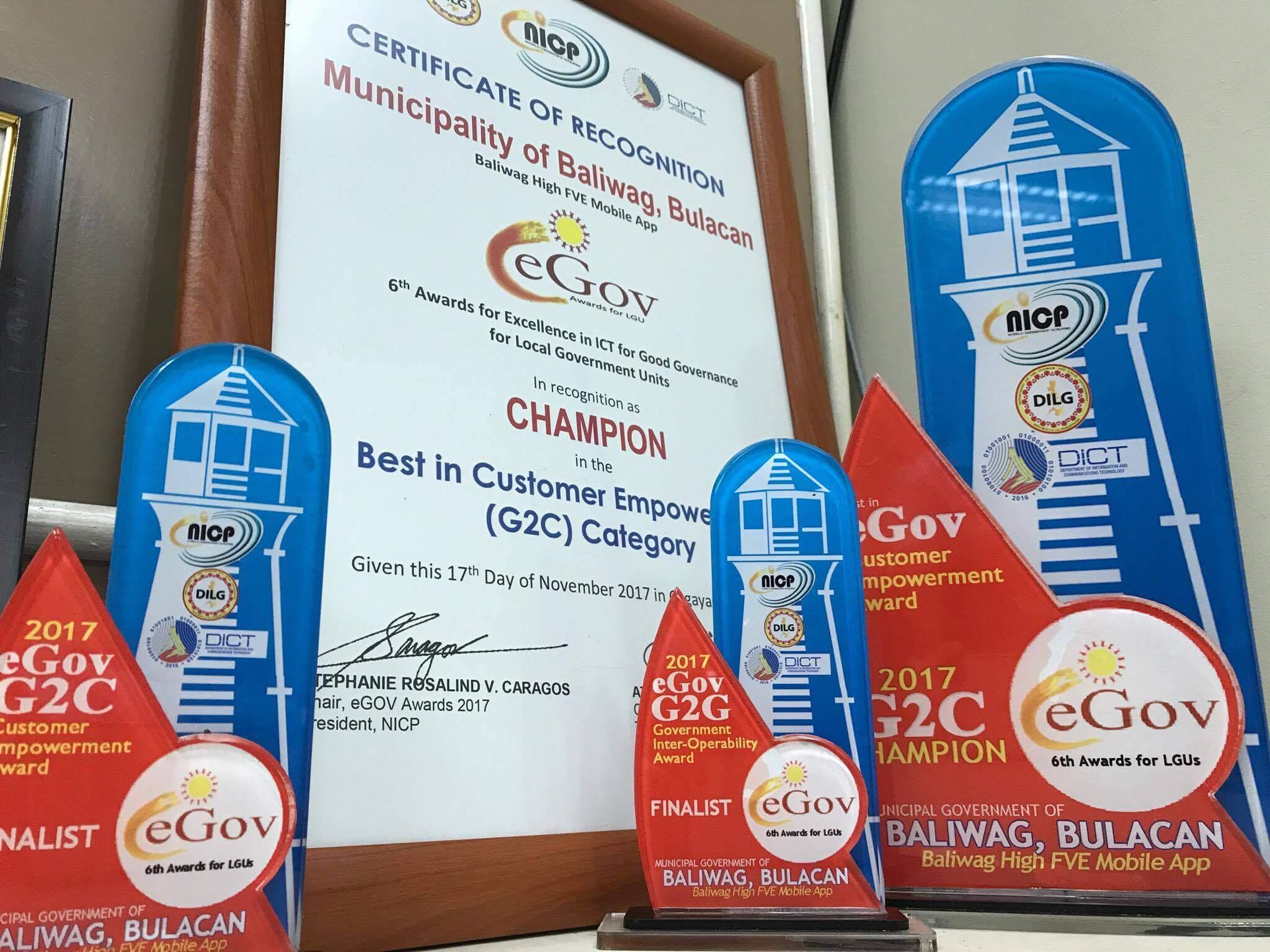 Baliwag Mobile App Champs Customer Empowerment Award in 6th eGov Awards