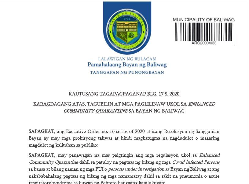 Karagdagang Atas, Tagubilin at mga Paglilinaw Ukol sa Enhanced Community Quarantine sa Bayan ng Baliwag